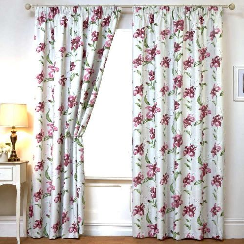 PINK COLOUR READYMADE THERMAL BLACKOUT PENCIL PLEAT TAPE TOP FLORAL DESIGN CURTAINS